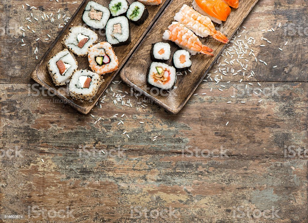 Traditional japanese food. Sushi rolls, maki, nigiri stock photo