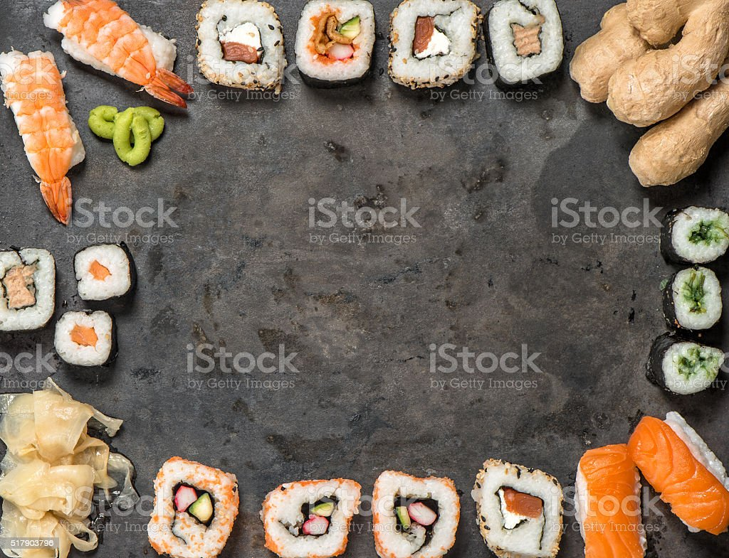 Traditional japanese food. Sushi rolls, nigiri, maki stock photo