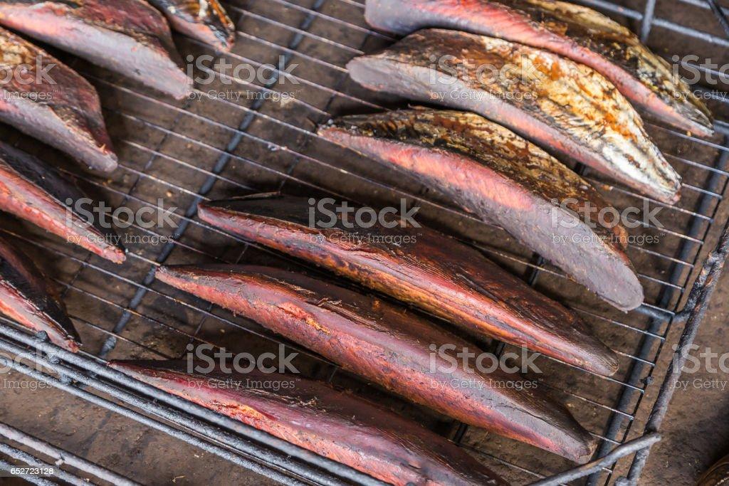 Traditional Japanese katsuobushi - smoked skipjack Tuna stock photo