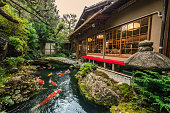 This is a photograph of a beautiful serene koi pond in a Japanese garden outside of a restaurant in Kyoto, Japan.