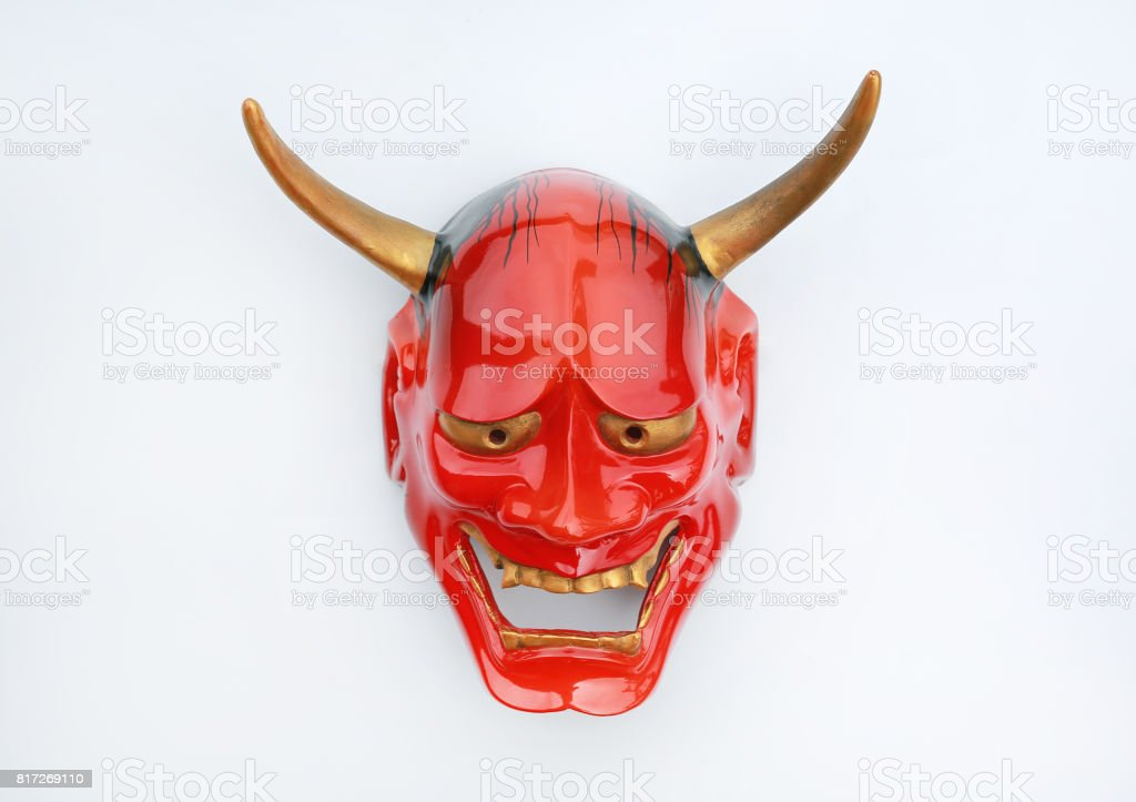 Traditional Japanese mask of a demon, Kabuki Mask on white background. stock photo