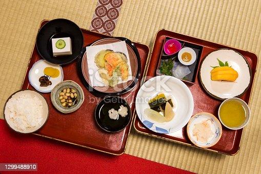 istock Traditional Japanese Morning Breakfast Menu Mount Koya in Japan.Horizontal Image 1299488910