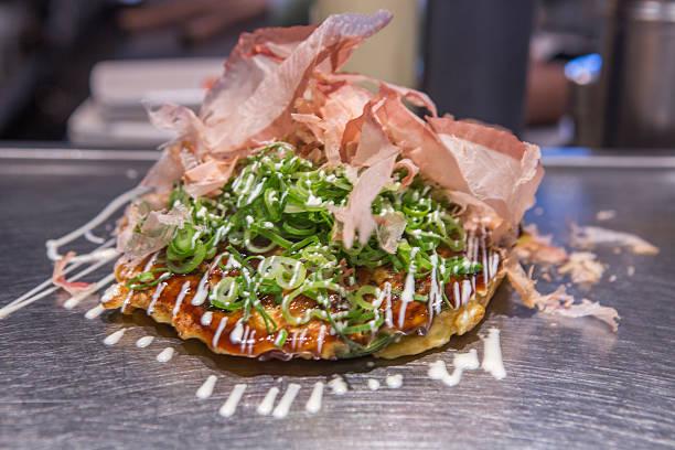 traditional japanese okonomiyaki dish served at kyoto japan stok fotoğrafı