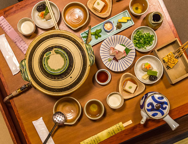 Traditional Japanese Ryokan food set stock photo