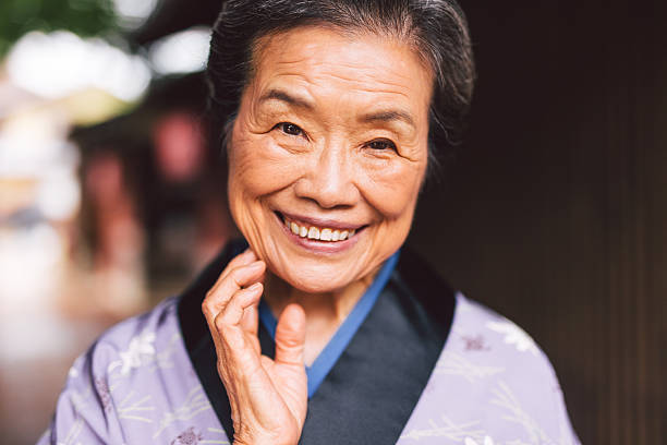 Traditional Japanese Senior Woman stock photo