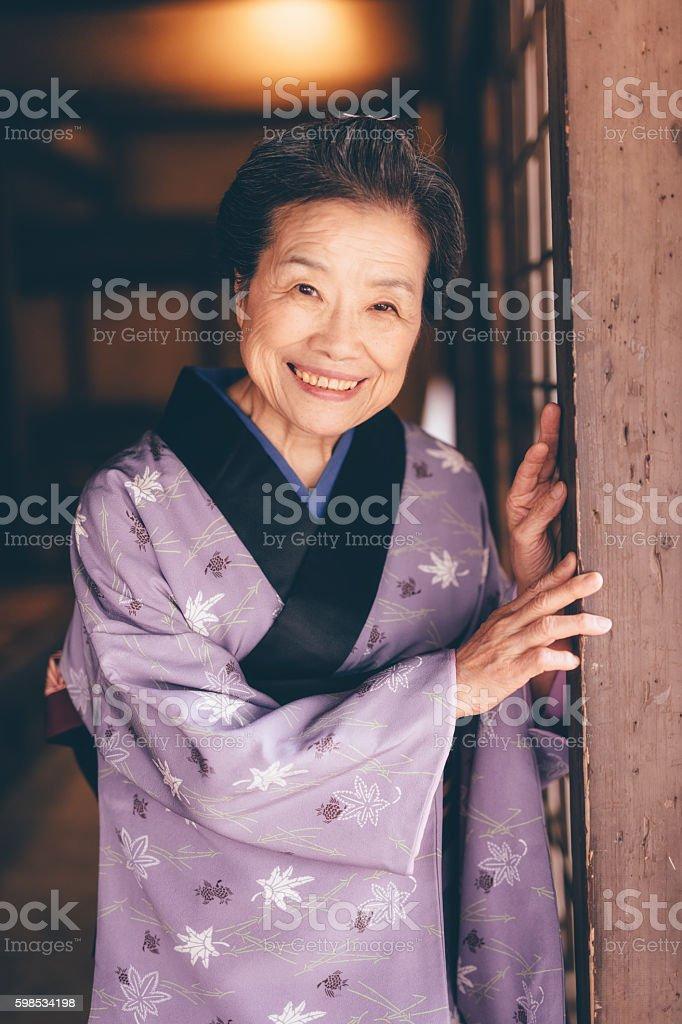 Femme âgée japonais traditionnel photo libre de droits