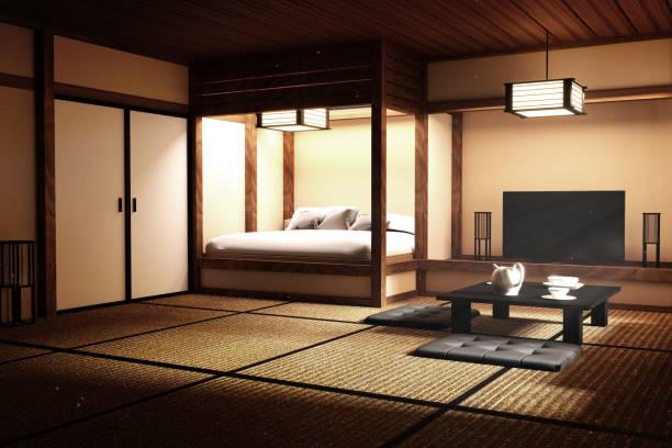 伝統的な和風の寝室。3d レンダリング - 畳 ストックフォトと画像