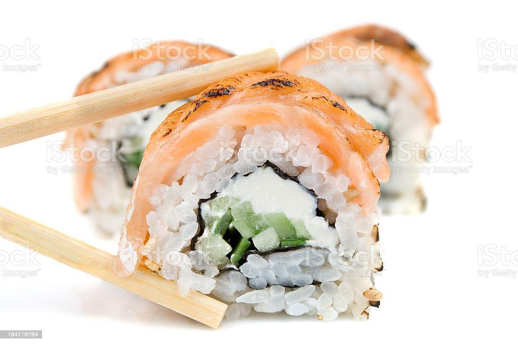 Traditional japanese sushi isolated on white stock photo