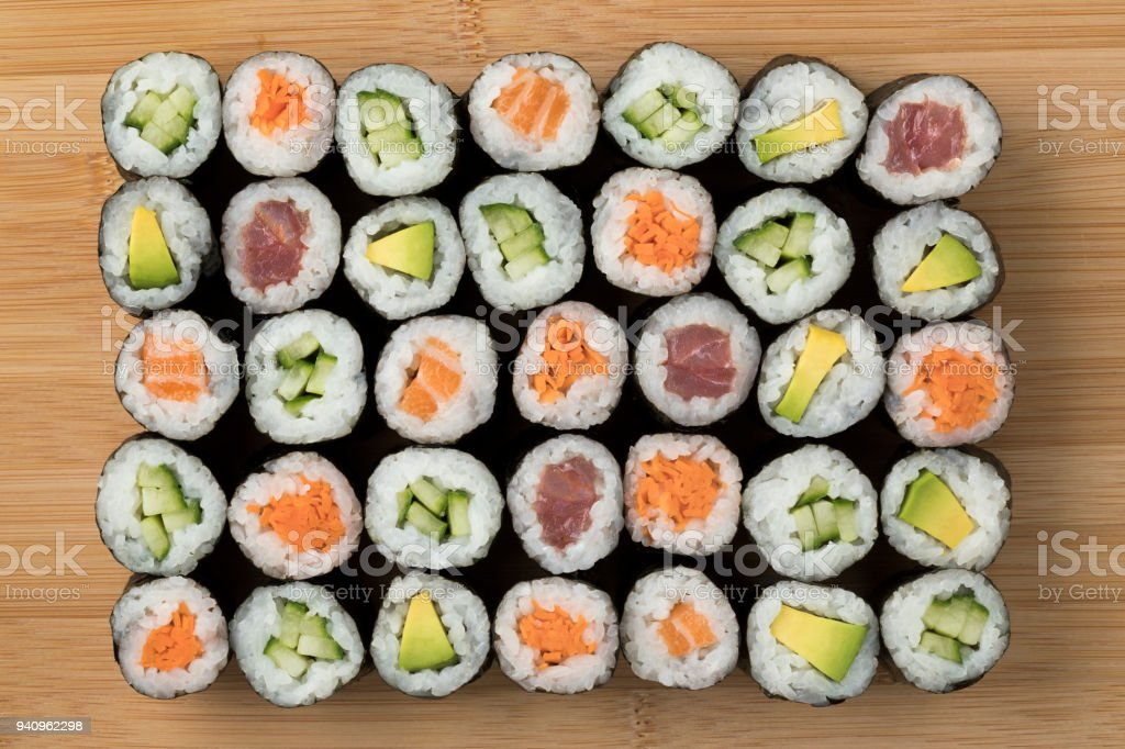 Traditional Japanese sushi maki stock photo
