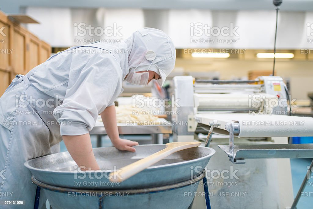 Traditional Japanese sweet factory stock photo