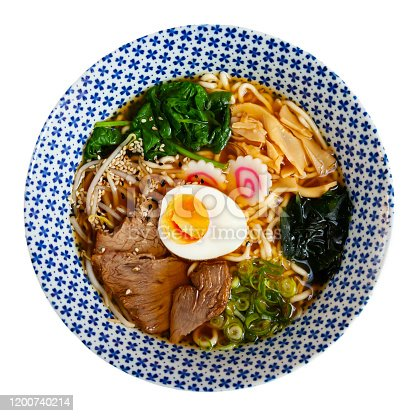 Traditional japanese thick ramen with veal. Japanese cuisine. Isolated over white background