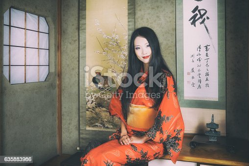 istock Traditional Japanese Woman in an Old Japanese House 635883986