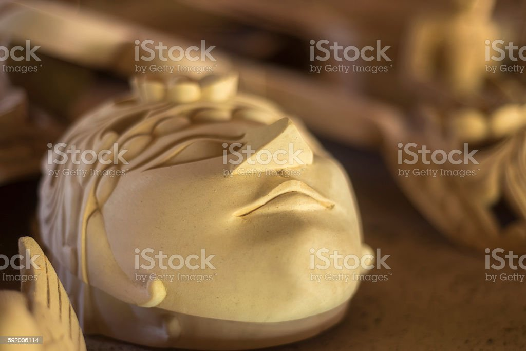 Traditional javanese wooden theatre mask stock photo