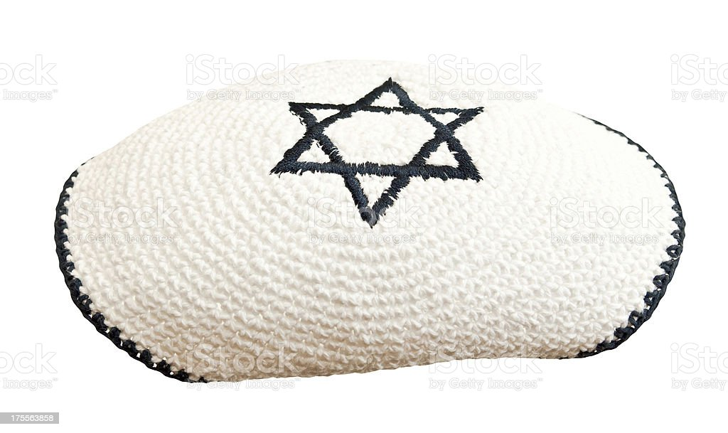 Traditional jewish headwear with embroidered star of David stock photo