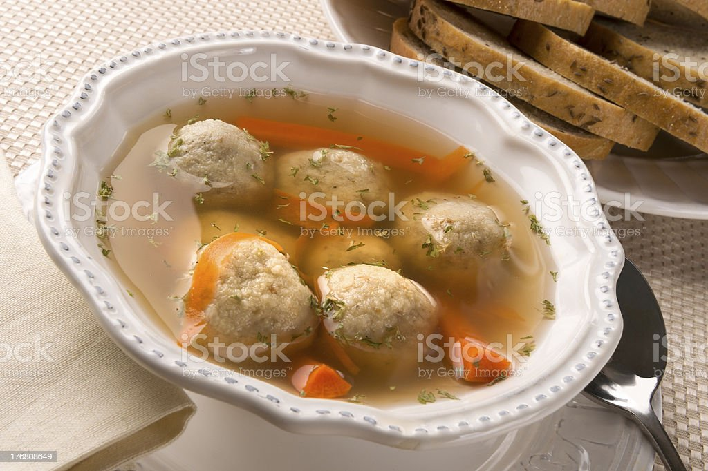 Traditional Jewish Passover Dish Matzah Ball Soup stock photo