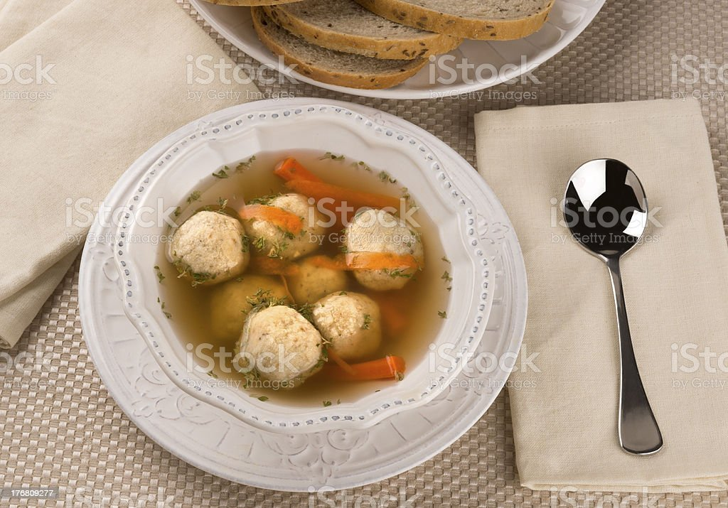 Traditional Jewish Passover Dish Matzah Ball Soup royalty-free stock photo