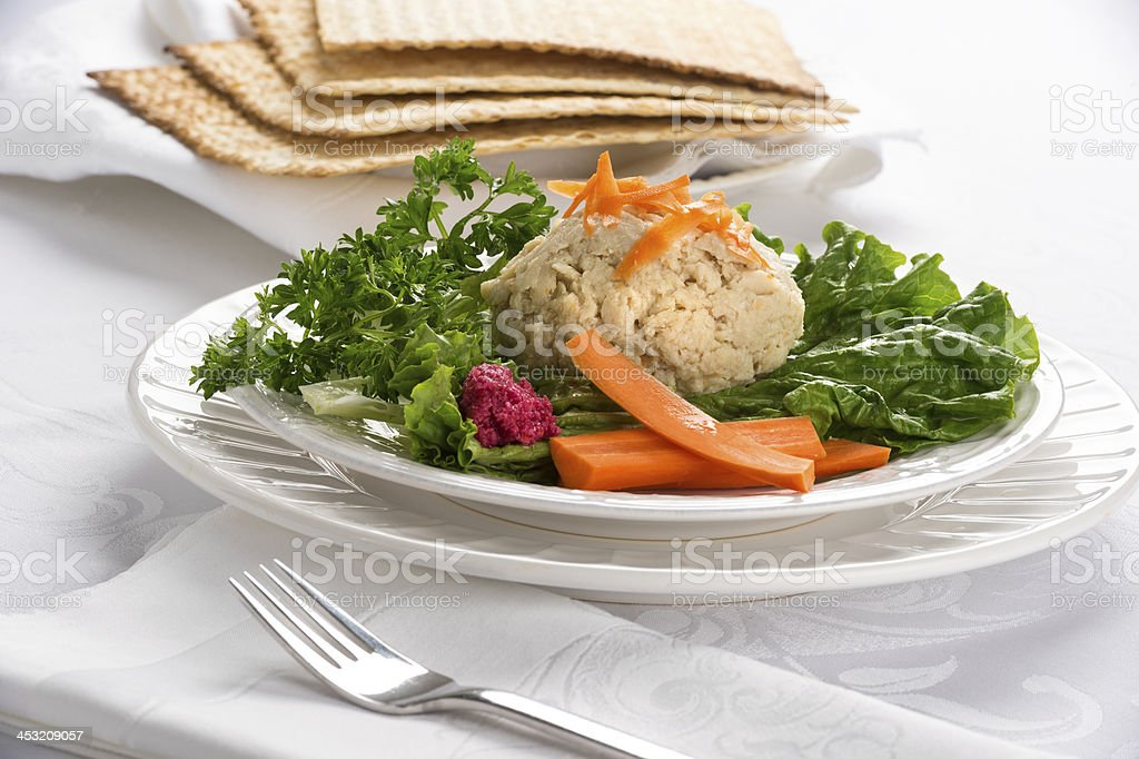 Traditional Jewish passover Gefilte Fish royalty-free stock photo