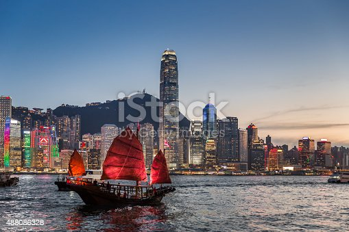 istock Traditional Junk Boat at Dusk 488086328
