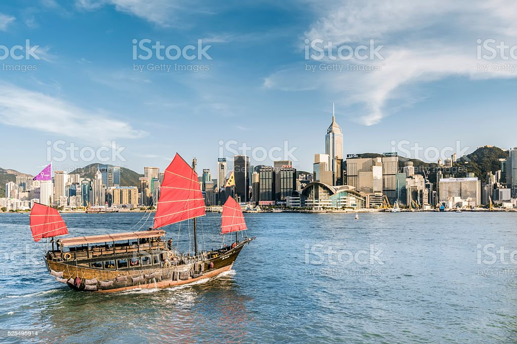 Traditional Junk Boat at Dusk stock photo