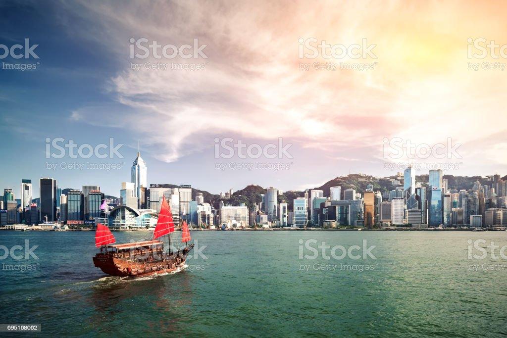 Traditional Junk Boat at HongKong stock photo