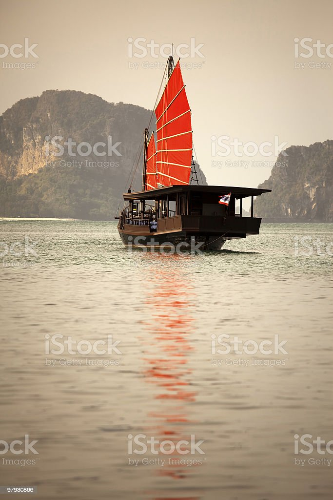 Traditional junk boat, Thailand royalty-free stock photo
