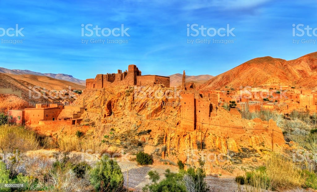Traditional Kasbah fortress in Dades Valley in the High Atlas Mountains, Morocco stock photo
