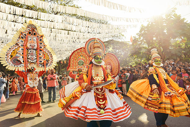 Traditional Kathakali dance on New Year carnival stock photo