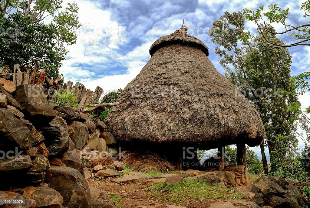 Traditional Konso tribe house, Ethiopia stock photo