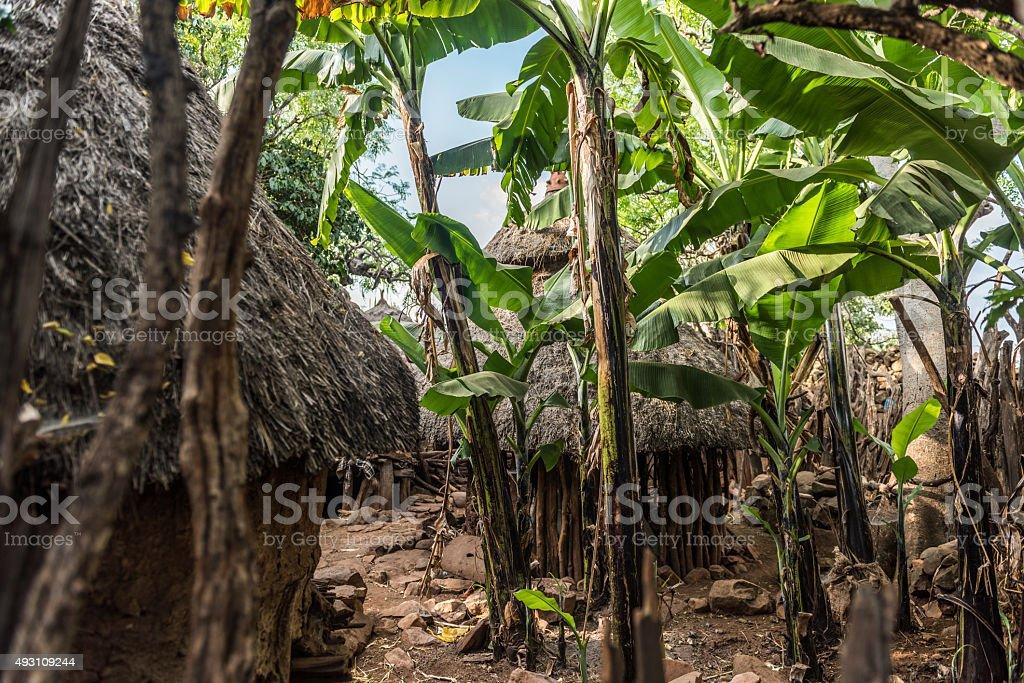 Traditional Konso Village, Ethiopia stock photo