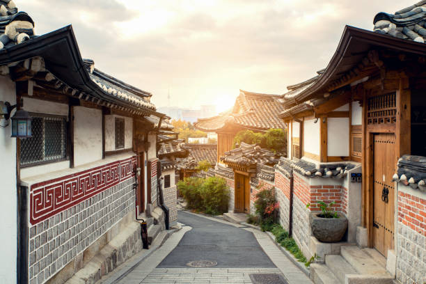 Traditionelle koreanische Architektur Bukchon Hanok Village in Seoul, Südkorea. – Foto