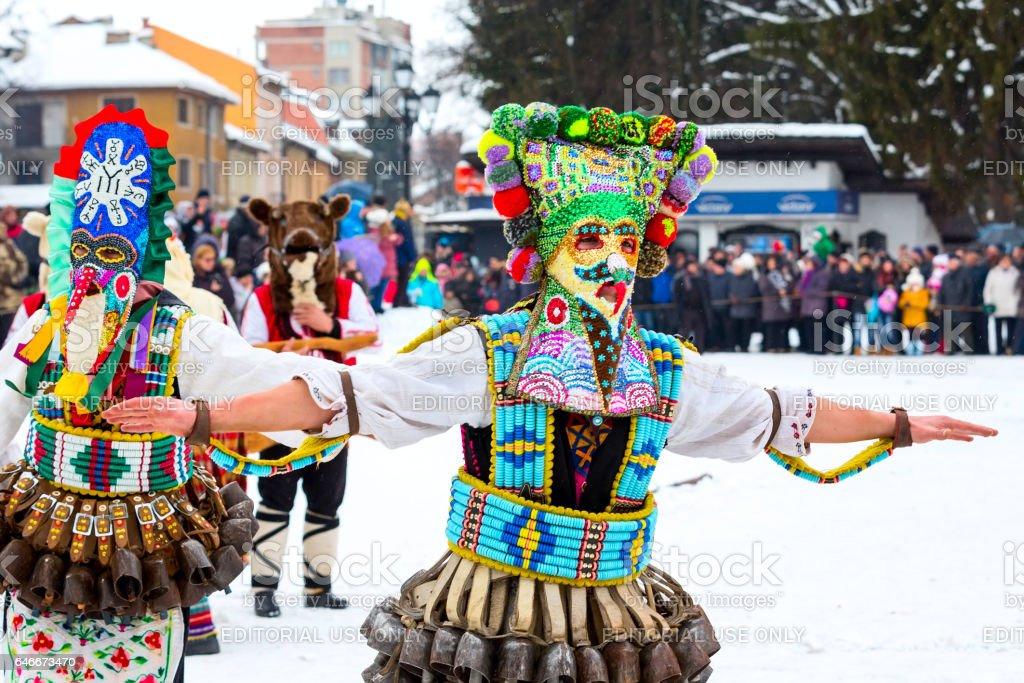 traditional Kukeri costume festival in Bulgaria stock photo