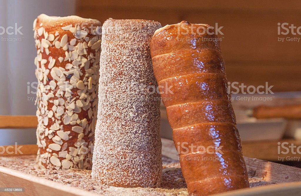 Traditional kurtos kalacs cakes, Hungary stock photo
