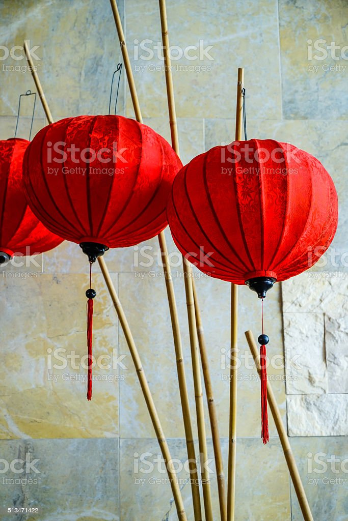 Traditional lamps in Old Town Hoi An, Central Vietnam. stock photo