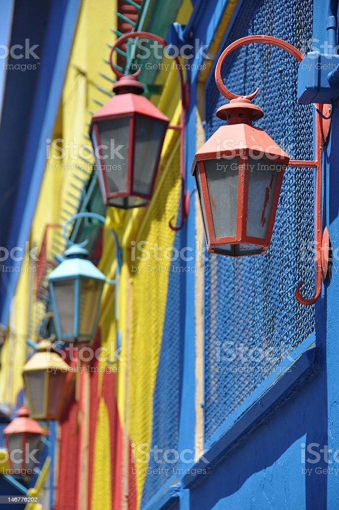 Traditional lamps, La Boca, Argentina stock photo