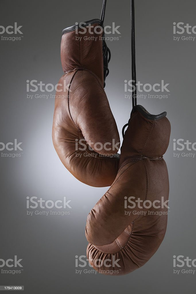 Traditional Leather Boxing Gloves royalty-free stock photo