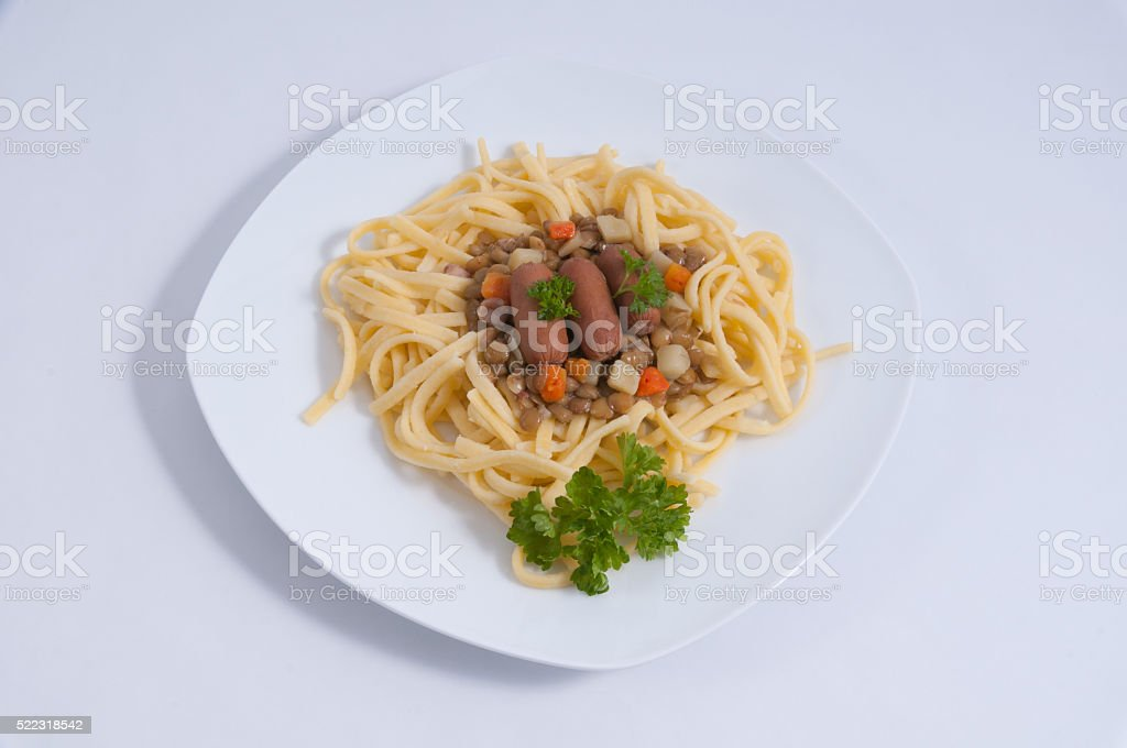 Traditional lenses with spaetzle stock photo