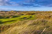 Stunning image of Green on a traditional links golf course. Golf was first played in Scotland on courses built on links land which is the land between the sea and the fertile arable land.