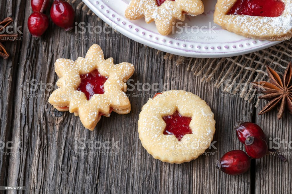 Traditional Linzer Christmas Cookies Filled With Strawberry Jam Stock Photo Download Image Now Istock