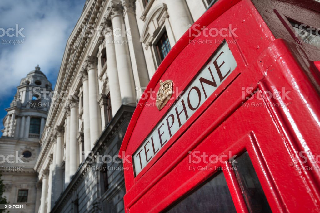Traditional London red phone booth stock photo