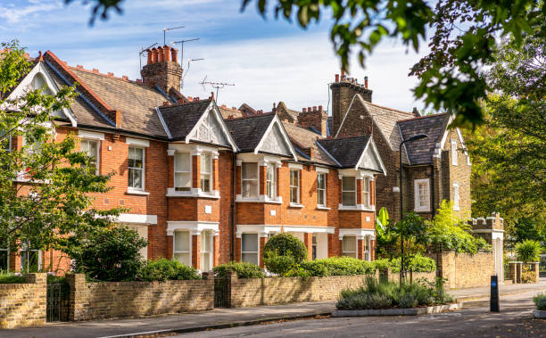 Traditional London terraced houses stock photo
