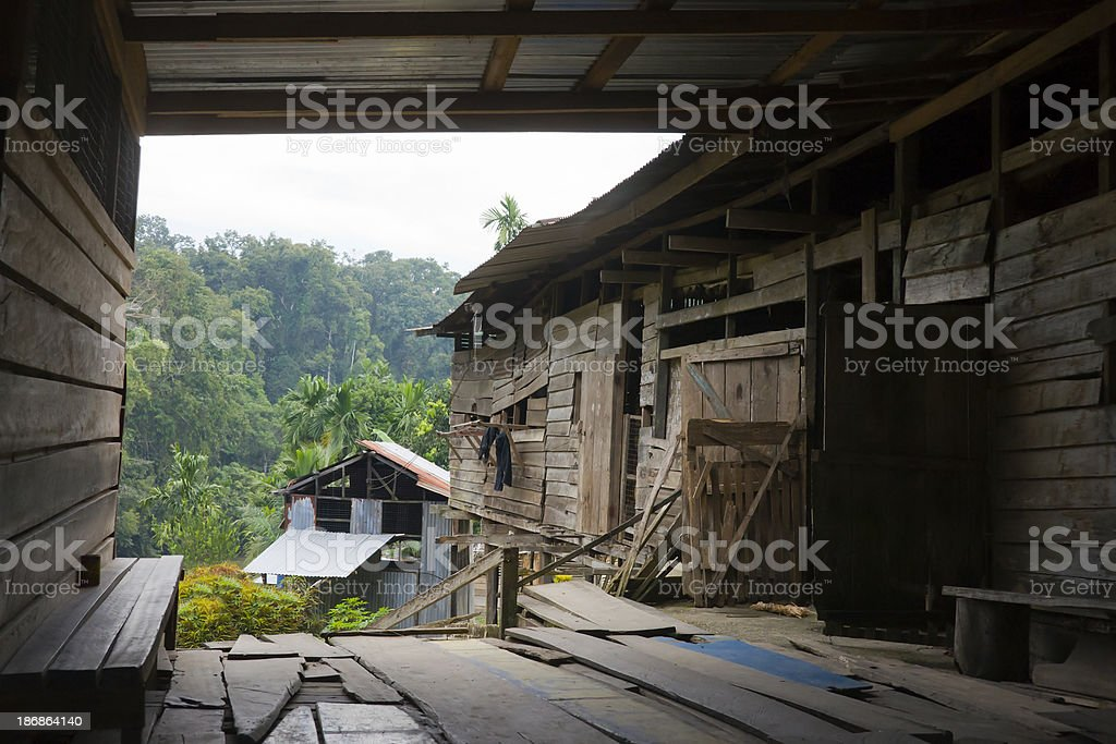 Traditional Longouse in Borneo stock photo