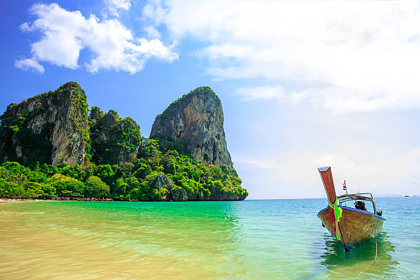 Traditional longtail boat at Railay beach stock photo