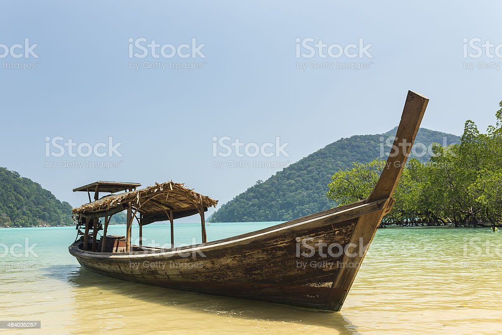 Traditional longtail boat at Surin island, Thailand stock photo