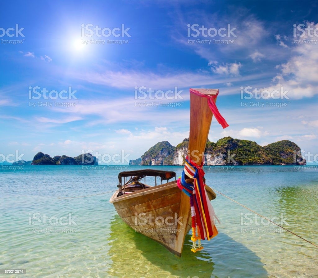 Traditional longtail boats stock photo