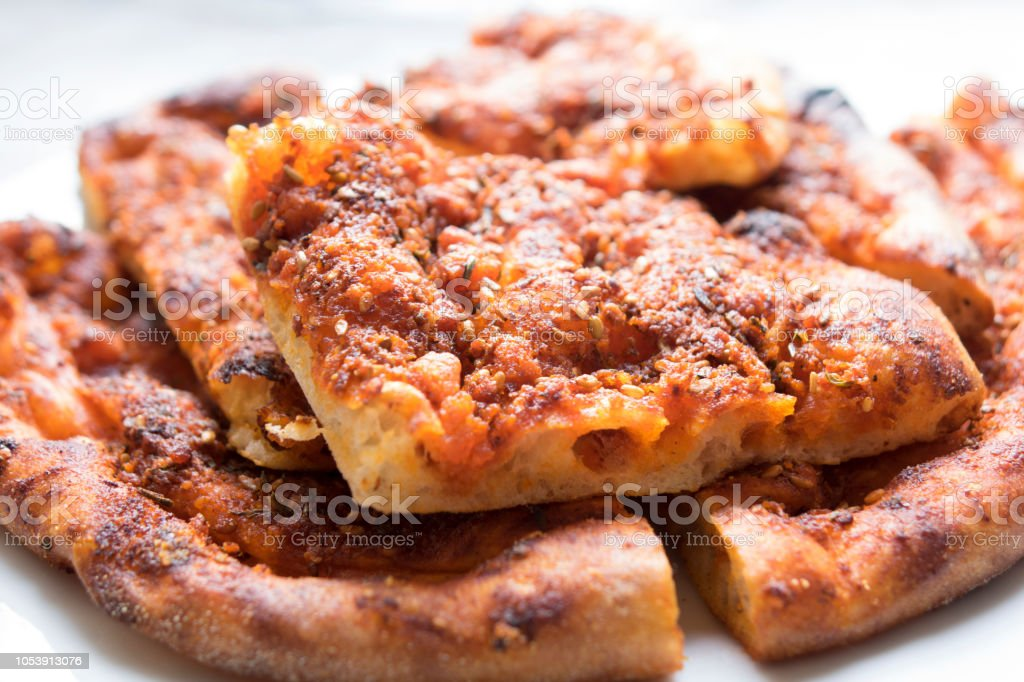 Traditional Macedonian and Serbian food. Homemade peppered bread stock photo