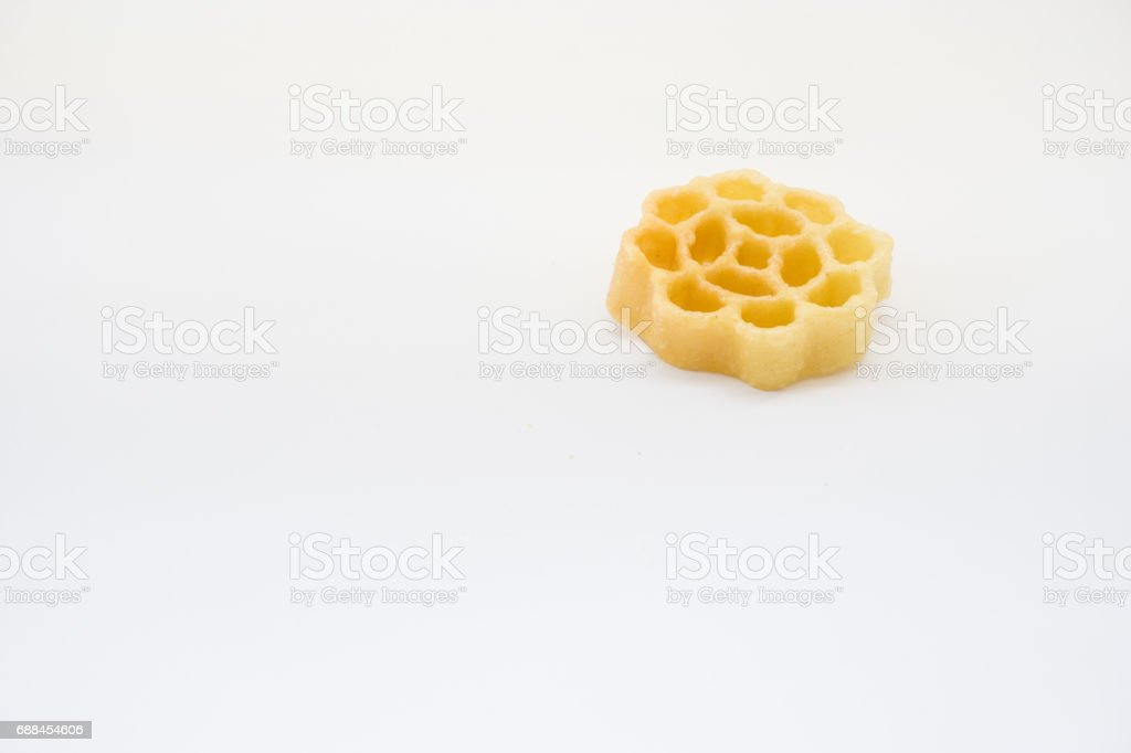 Traditional Malaysian cookies snack called ' Kuih Ros or Goyang ' over white background stock photo