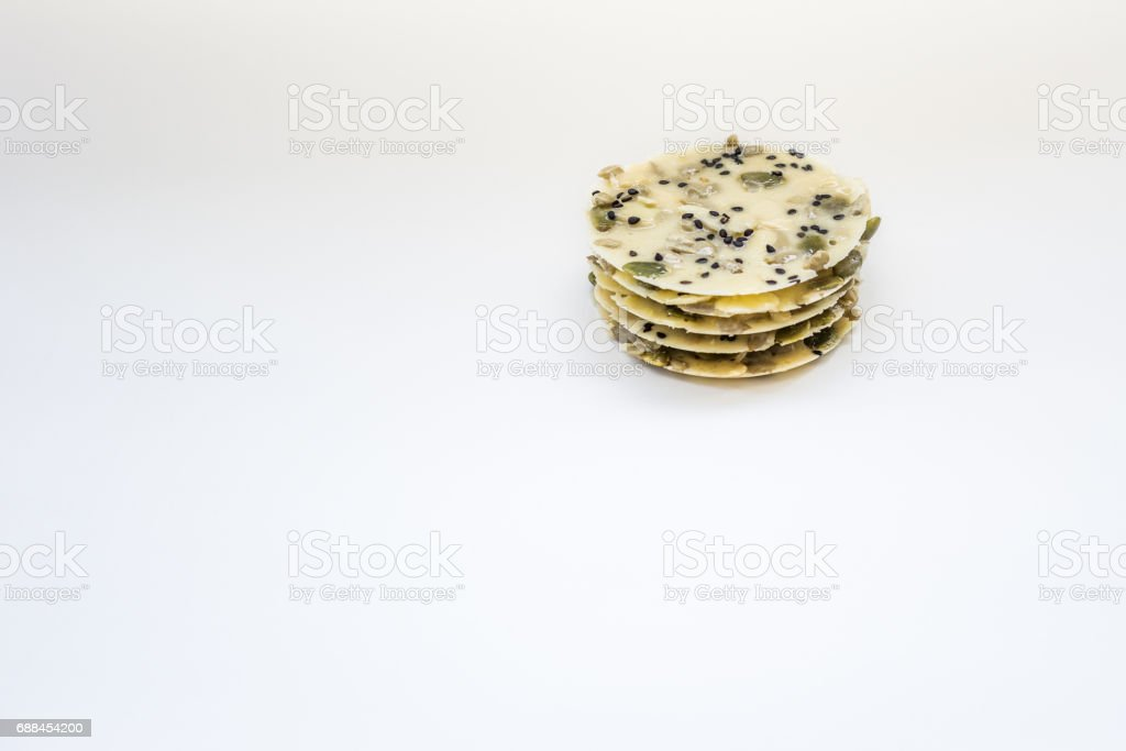 Traditional Malaysian cookies snack over white background stock photo