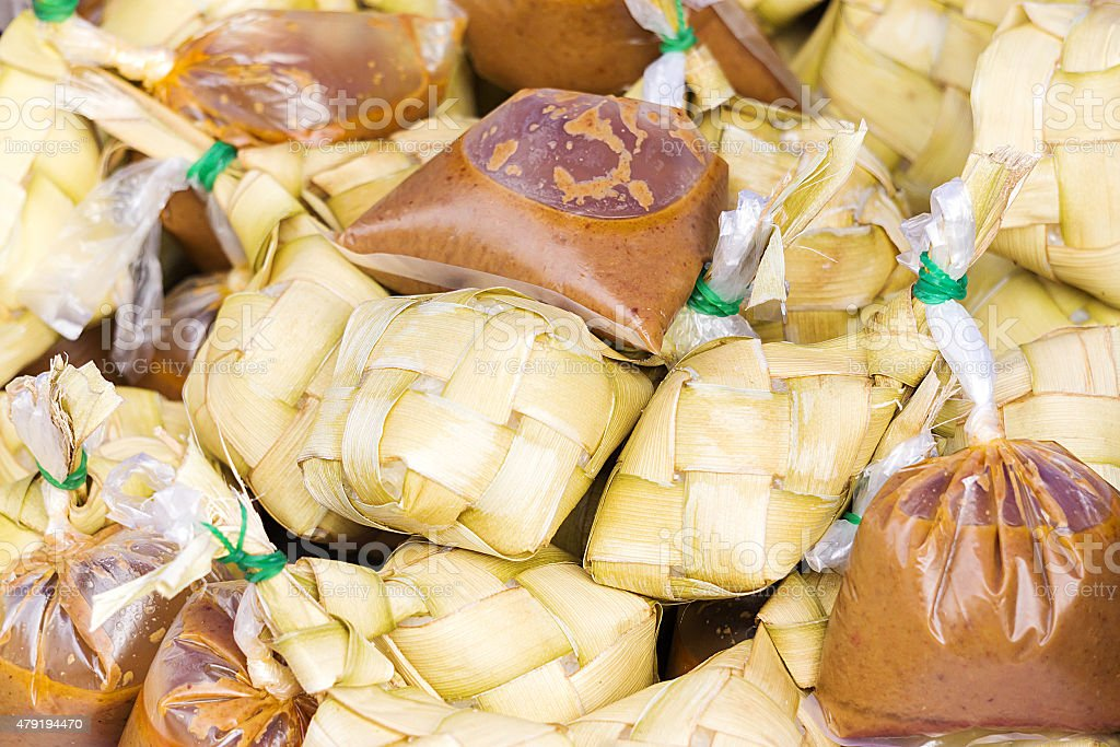 Traditional Malaysian food call Ketupat with kuah stock photo