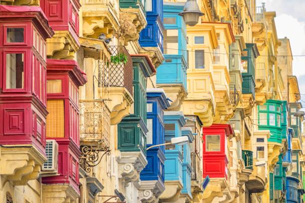 Traditional Maltese Balconies in Valletta Malta stock photo