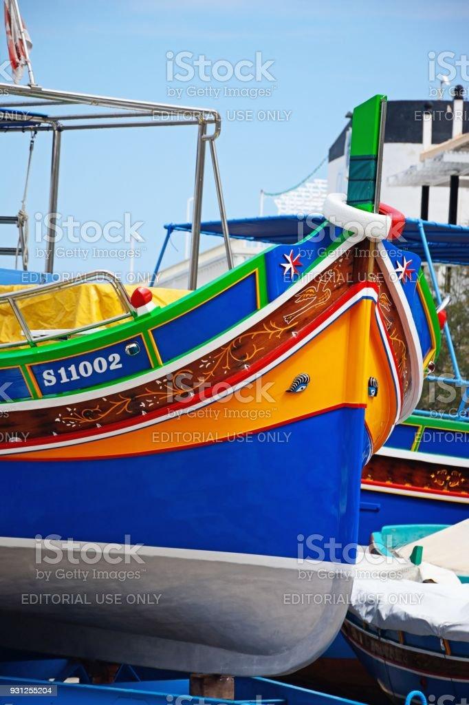 Traditional Maltese fishing boat, Malta. stock photo